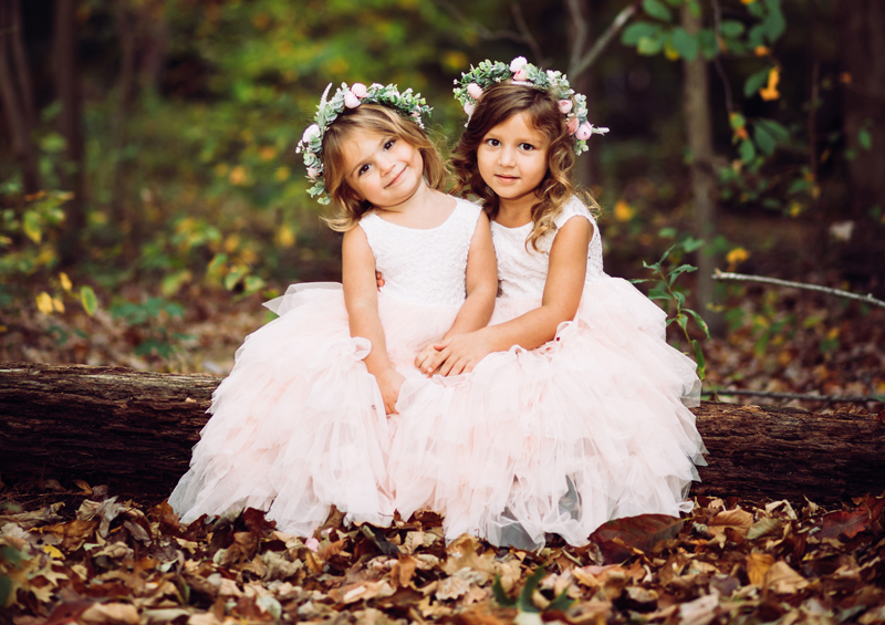 NJ Family Photographer, two girls in white dresses with flower crowns